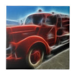 Beautiful Shiny Antique Red Fire Truck Art Tile