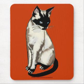 Beautiful Siamese Cat Cartoon Art Mouse Pad