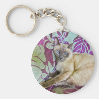 Beautiful Siamese Cat Watching the Camera Keychain