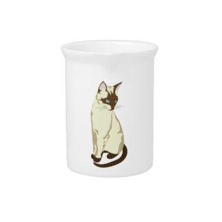 Beautiful Siamese Kitty Cat Beverage Pitcher