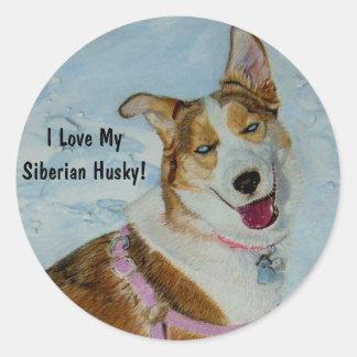Beautiful Siberian Husky in Snow Classic Round Sticker