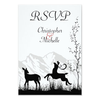 Beautiful Silhouette Deer Mountain Wedding RSVP Card