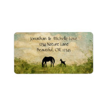 Beautiful Silhouette Mare and Foal Horse Address Label