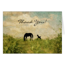 Beautiful Silhouette Mare and Foal Horse Thank You