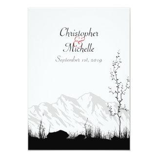 Beautiful Silhouette Mountain Wedding Card