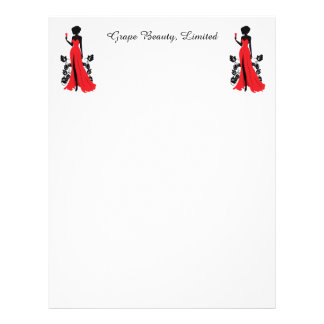 Beautiful silhouette of young woman with wineglass letterhead