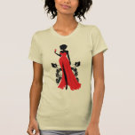 Beautiful silhouette of young woman with wineglass T-Shirt