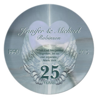 Beautiful Silver Angel Wings and Heart Dinner Plate