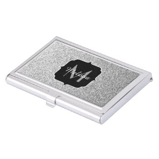 Beautiful Silver glitter sparkles Monogram Business Card Case