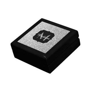 Beautiful Silver glitter sparkles Monogram Keepsake Box