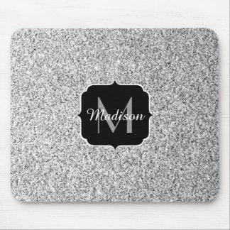 Beautiful Silver glitter sparkles Monogram Mouse Pad