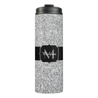 Beautiful Silver glitter sparkles Monogram Thermal Tumbler