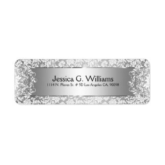 Beautiful Silver Gray And White Damasks & Lace Label
