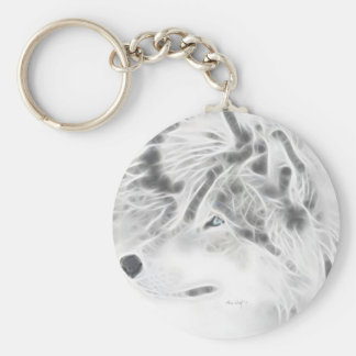 Beautiful Silver Wolf Keychain