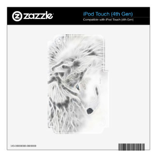 Beautiful Silver Wolf Skins For iPod Touch 4G
