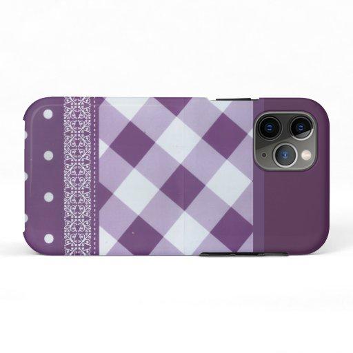 Beautiful simple amazing chic tartan purple design iPhone 11 pro case