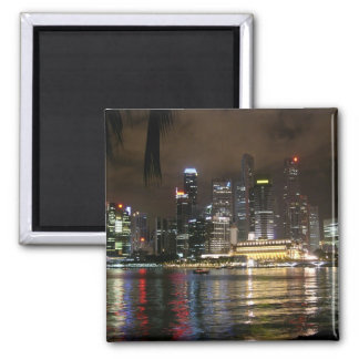 Beautiful Singapore At Night. 2 Inch Square Magnet