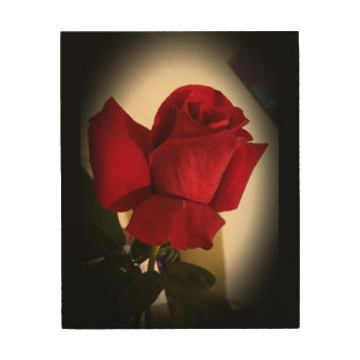 Beautiful Single Red Rose Wood Wall Art