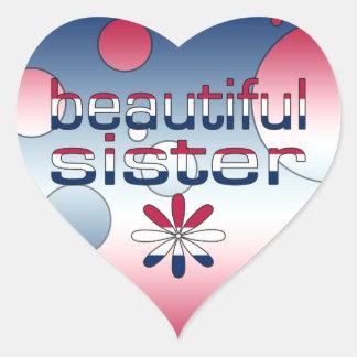 Beautiful Sister America Flag Colors Pop Art Heart Stickers