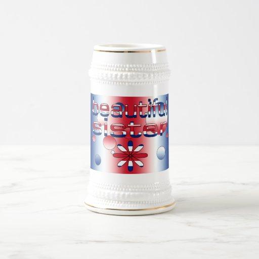 Beautiful Sister in Britain Flag Colors Pop Art 18 Oz Beer Stein