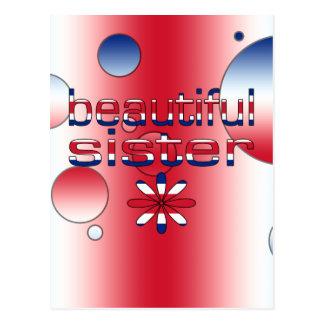 Beautiful Sister in Britain Flag Colors Pop Art Postcard