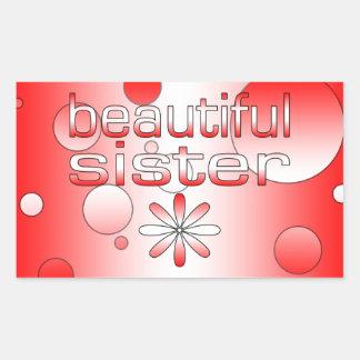 Beautiful Sister in Canada Flag Colors Pop Art Rectangular Sticker