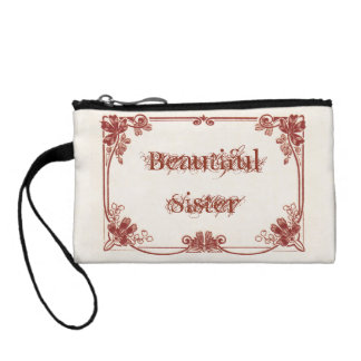 Beautiful Sister Monogrammed Key Coin Clutch
