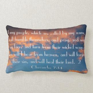 beautiful sky bible verse 2 Chronicles 7:14 Lumbar Pillow