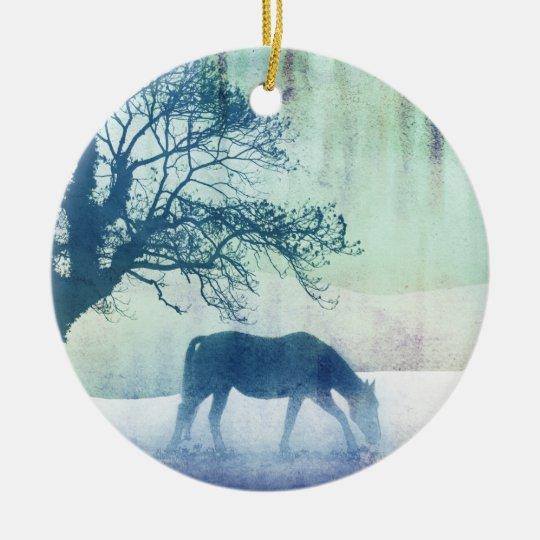 Beautiful Snow Horse Artwork Ceramic Ornament
