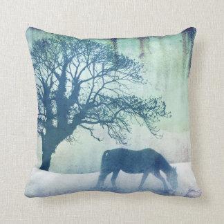 Beautiful Snow Horse Artwork Throw Pillow