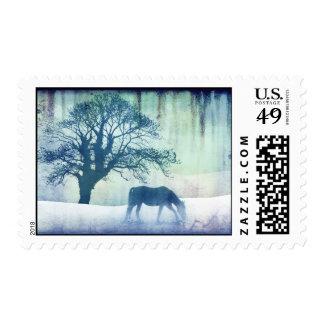 Beautiful Snow Horse Artwork Postage
