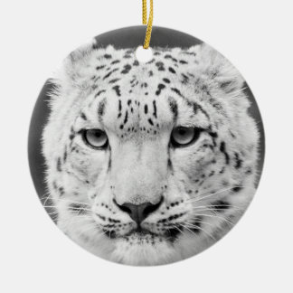 Beautiful Snow Leopard Black and White Portrait Double-Sided Ceramic Round Christmas Ornament