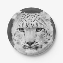 Beautiful Snow Leopard Black and White Portrait Paper Plate