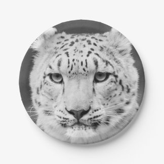 Beautiful Snow Leopard Black and White Portrait Paper Plate  sc 1 st  Zazzle & Snow White Plates | Zazzle