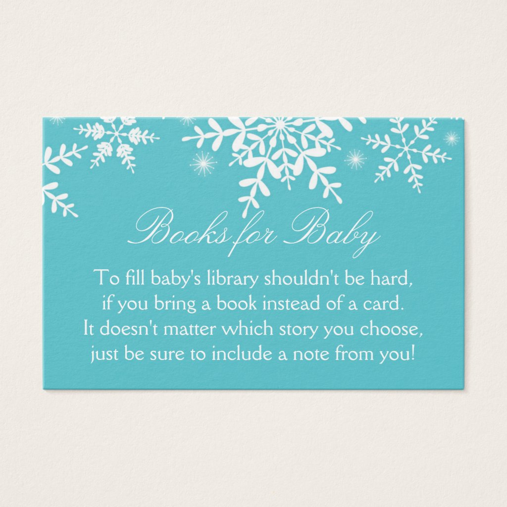 Beautiful Snowflakes Baby Shower Bring a Book Card