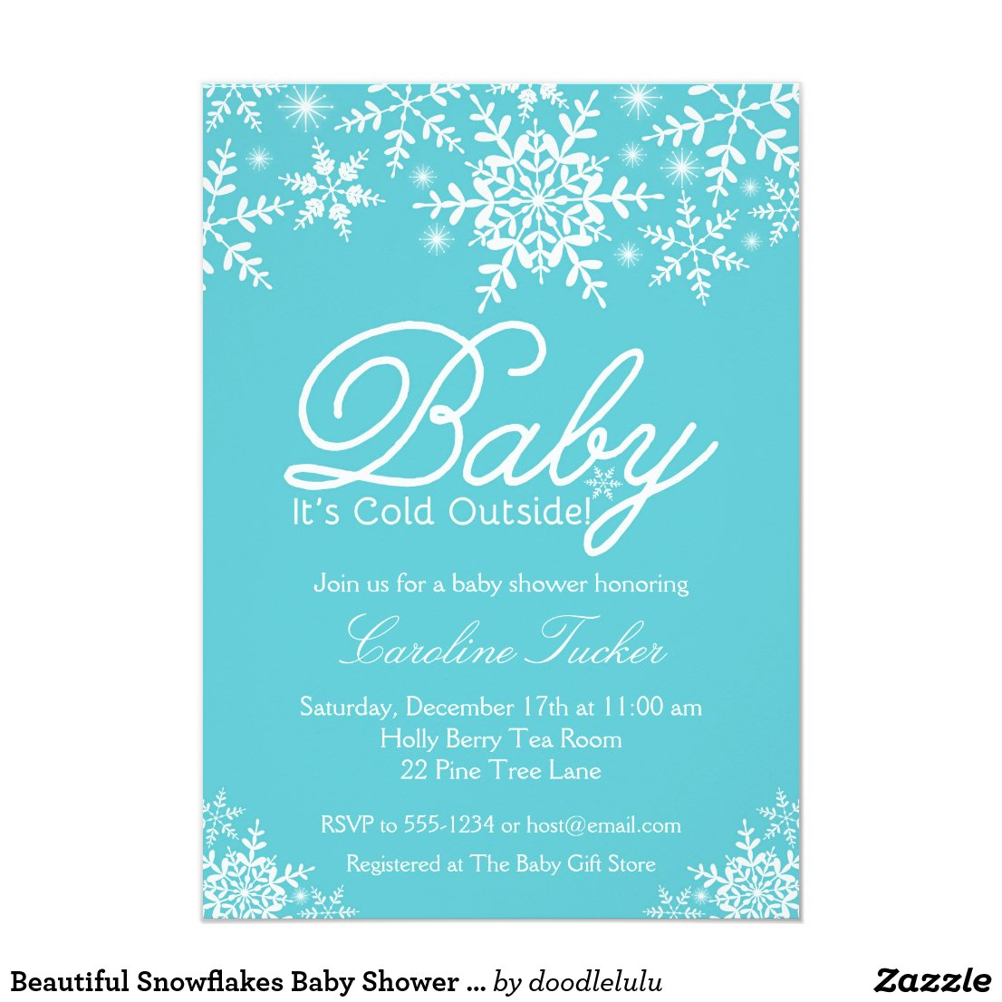 Beautiful Snowflakes Baby Shower Invitation