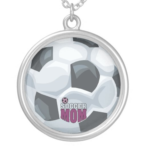 Beautiful Soccer Mom Logo and Soccer Ball Necklace