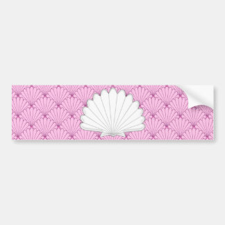 Beautiful Soft Pink Scallop Shell Repeating Patter Bumper Sticker