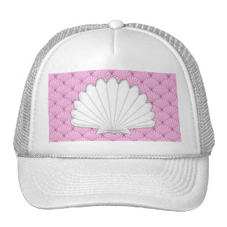 Beautiful Soft Pink Scallop Shell Repeating Patter Trucker Hat
