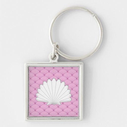 Beautiful Soft Pink Scallop Shell Repeating Patter Keychain