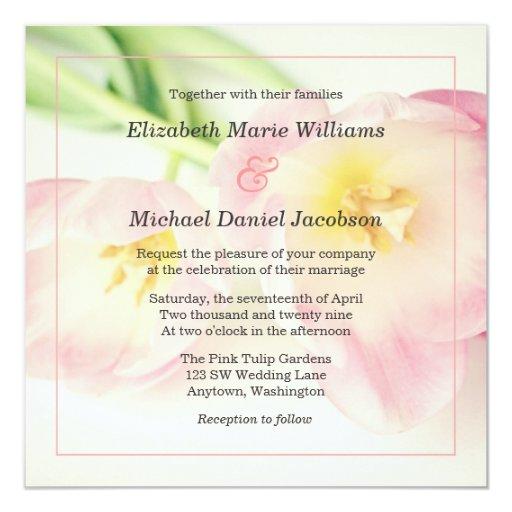 Beautiful Soft Pink Tulips Wedding Invitations