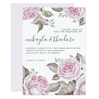 Beautiful Soft Purple Watercolor Roses Wedding Invitation