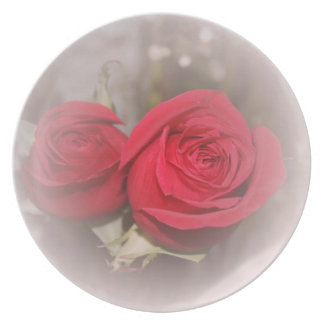 Beautiful Soft Red Roses Dinner Plate