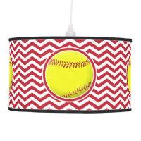 Beautiful Softball Red Chevron Pendant Lamp