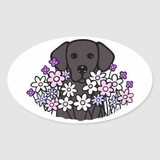 Beautiful Soul Black Labrador Illustration 2 Oval Sticker