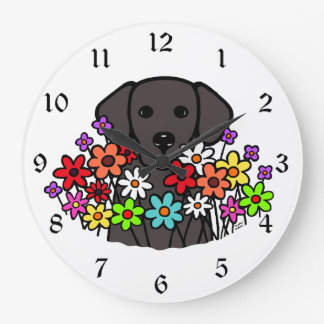 Beautiful Soul Black Labrador Illustration Large Clock