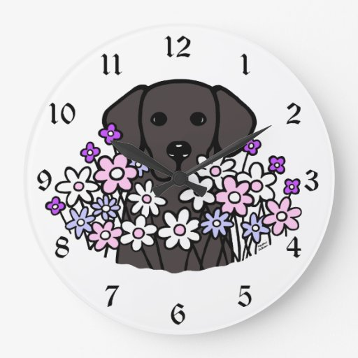 Beautiful Soul Black Labrador Illustration Large Clock