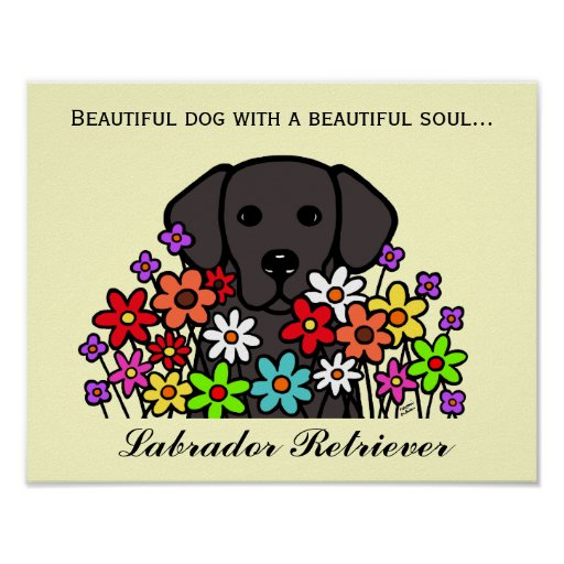 Beautiful Soul Black Labrador Illustration Poster