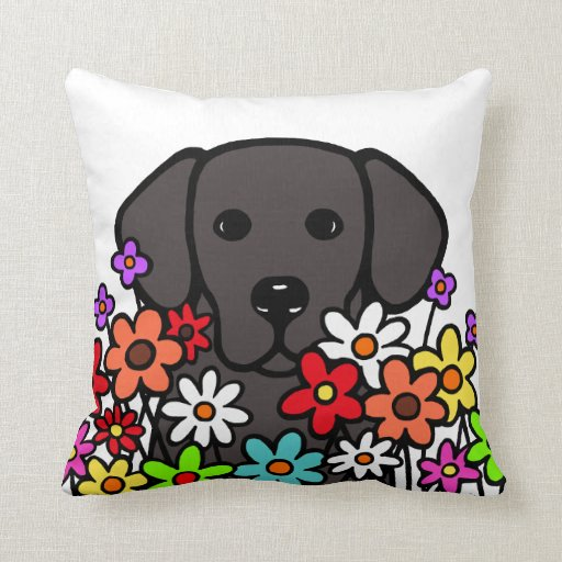 Beautiful Soul Black Labrador Illustration Throw Pillow