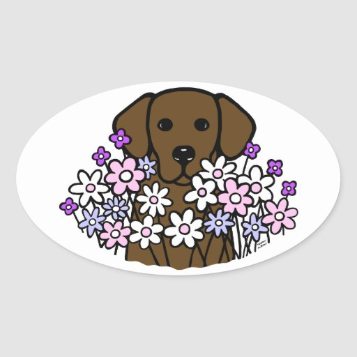 Beautiful Soul Chocolate Labrador Illustration 2 Oval Sticker